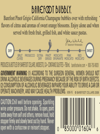 Barefoot Bubbly Pinot Grigio 750ML image number 5