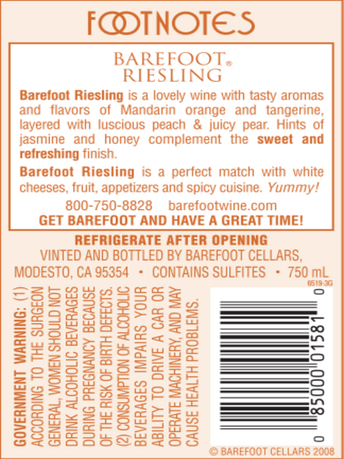 Barefoot Riesling  750ML image number 3