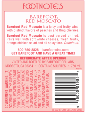 Barefoot Red Moscato  750ML image number 5
