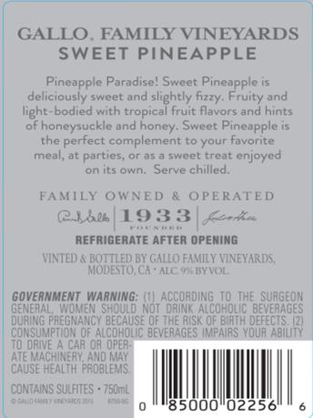 Gallo Family Vineyards Sweet Pineapple  750ML image number 3