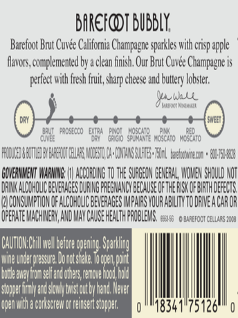 Barefoot Bubbly Brut Cuvee  750ML image number 4