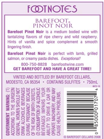 Barefoot Pinot Noir  750ML image number 3
